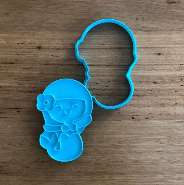 Mermaid Cookie Cutter and optional Stamp measures approx. 110mm tall by 75mm wide at the widest point..  This Mermaid comes with the option of choosing the outline cutter, or with the stamp which fits perfectly inside for s