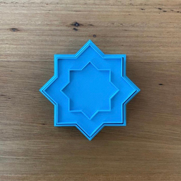 6 Pointed Star Cookie Cutter & optional Stamp measures approx. 80mm across.