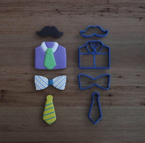 Father's Day Cookie Cutters Shirt Tie Bow Tie Moustache  Bundle all items together for 10% off    Sizes hxw (mm):  Shirt: 80mm x 90mm  Tie: 90mm x 36mm  Bow Tie: 45mm x 90mm  Moustache: 30mm x 82mm
