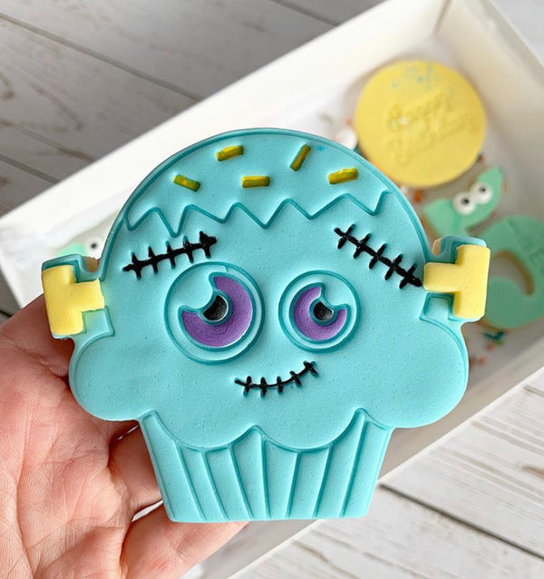 Halloween Scary Frankenstein Cup Cake Cookie Cutter and Emboss Stamp Set