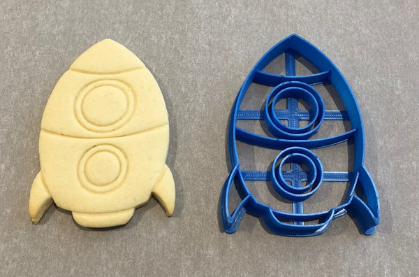 Rocket cookie cutter with internal stamp
