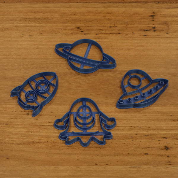 UFO Alien Rocket Planet cookie cutters with internal stamp