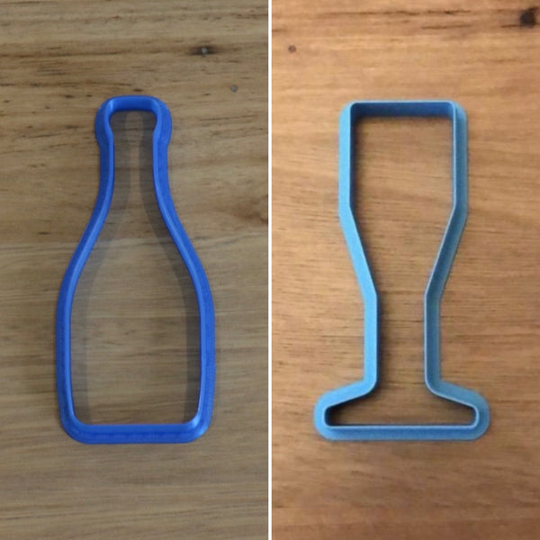 Champagne Bottle Wine Glass Cookie Cutter measures approx. 100mm tall by 40mm wide.  Why not pair it with our Champagne / Wine Glass measuring 90mm tall? Select the options to bundle and save when you order!