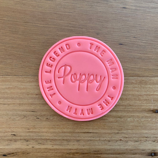 Happy Father's Day Poppy Emboss Stamp style #4 for 70mm Cookies