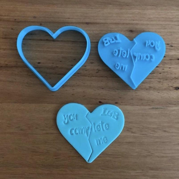 You Complete Me Heart Cutter and Emboss Stamp - 70mm  This cool heart Cutter and Stamp set is perfect for any romantic occasion, including Valentines Day and relationship Anniversaries. The stamp includes a score line that helps break the cookie easily in 2.