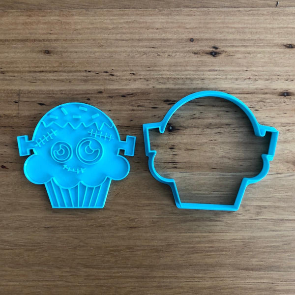 Halloween Scary Frankenstein Cup Cake Cookie Cutter and Stamp Set perfect for Halloween Measures approx. 80mm(h) x 86mm(w) at widest part.