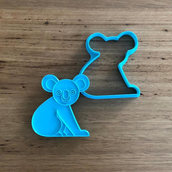 Koala Cookie Cutter with optional Stamp measures approx. 80mm tall by 75mm wide.  This Koala design comes with the option of choosing the outline cutter only, or adding the options stamp lines which you can use on fondant or straight on to cookies.