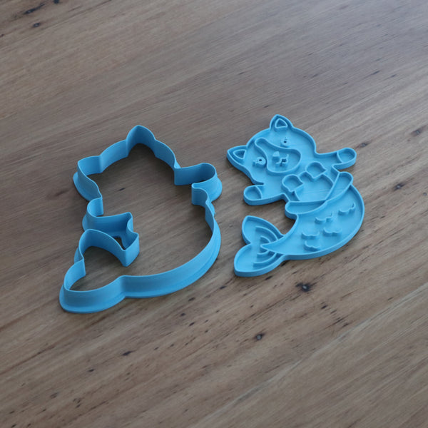 MerCat Cookie Cutter and optional Stamp measures approx. 100mm tall by xxmm wide.  This MerCat can bought as the cookie cutter outline only or with the fondant stamp as a set. The mystical MerCat is a very sought after Mermaid Cat, perfect for those magically themed parties of the infamous Mermaid Cat hybrid.