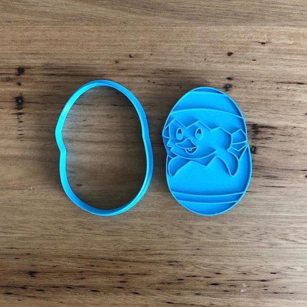 "Easter Chick in Easter Egg Cookie Cutter with internal stamp details measures approx. 90mm tall by 60mm wide.  Also, don't miss our other Easter themed cookie cutters, search for ""Easter"" in our search bar"