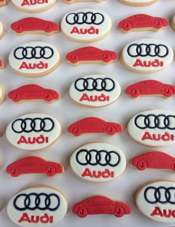 "Audi logo 2 piece Cookie Cutter and Fondant Stamp set measures approx. 47mm tall by 70xmm wide. We also have and Audi car available - see our other listing!  Search ""Audi"" in our search bar"