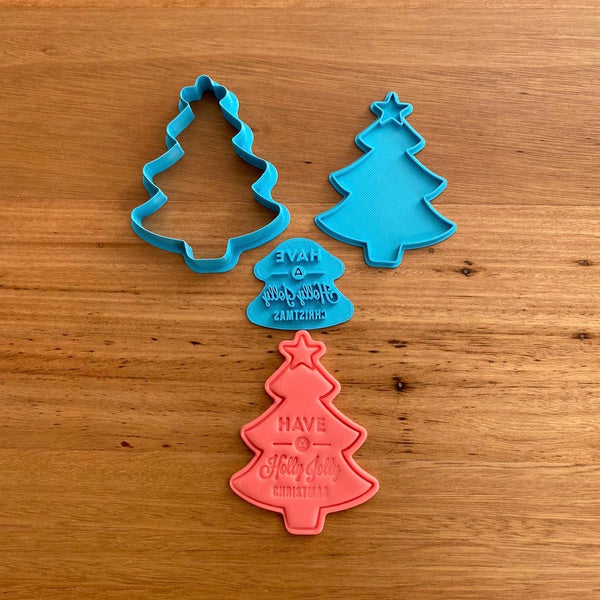 Christmas Tree and Text Cookie Cutter & Emboss Stamp