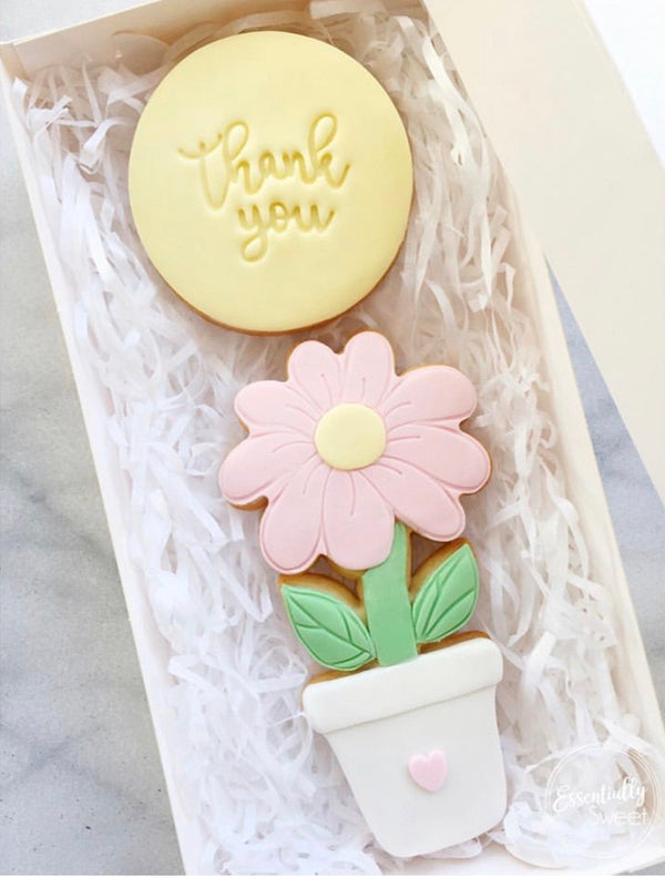 Flower & Pot Cookie Cutter and optional Fondant Stamp