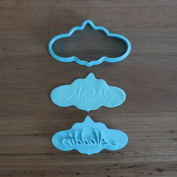 Aladdin name in cloud - Cookie Cutter, Fondant Cutter & Stamp Set measures approx. 47mm tall by 90mm wide.