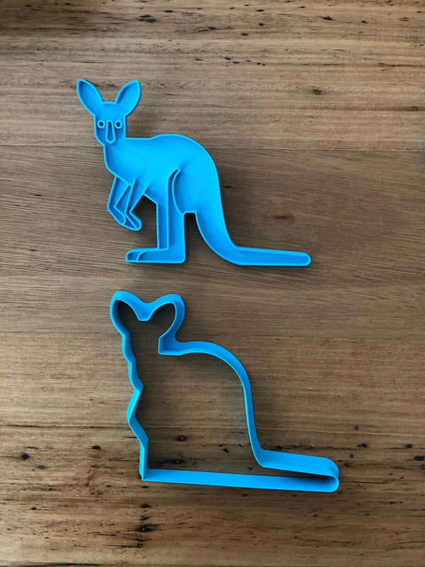 "Kangaroo Cookie Cutter with optional Stamp measures approx. 90mm tall by 110mm wide.  This Kangaroo design comes with the option of choosing the outline cutter only, or adding the optional stamp which you can use on fondant or straight on to cookies.  Also, don't miss our other Australian animal themed cookie cutters, search for ""Australian Animals"" in our search bar."