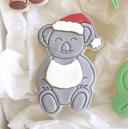 Christmas Koala wearing Singlet Cookie Cutter with optional Stamp
