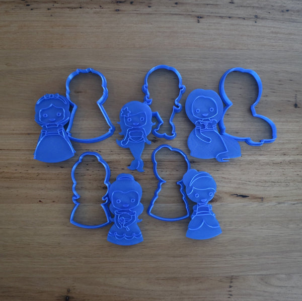 Belle Cinderella Little Mermaid Rapunzel Snow White Cookie Cutter and optional Stamp