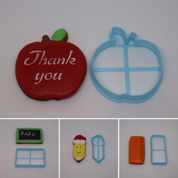 Teacher Appreciation Thank You Cookie Cutter Set includes Chalk Board, Ruler, Pencil and Apple  Apple: 80mm round  Chalk Board: 50mm (h) x 80mm (w)  Pencil: 90mm (h) x 30mm (w)  Ruler: 90mm (h) x 40mm (w)