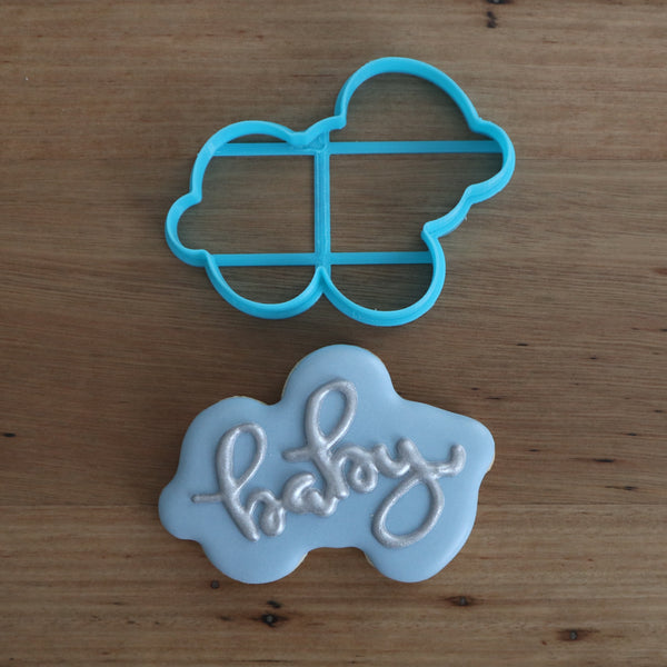 "Baby Plaque Sign Style #1 Cookie Cutter measures approx. 70mm tall by 100mm wide.  Specific plaqque for you to hand write ""Baby"" within the design. We have other plaque available, just search ""plaque""."