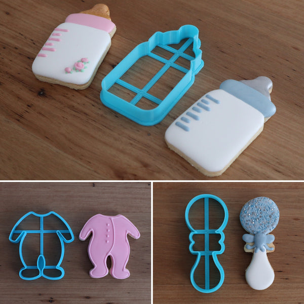 Baby Cookie Cutters Bottle Baby Suit Onesie Rattle