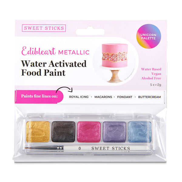 Sweet Sticks Water Activated Food Paint, Cake and Cookie Decorating, Unicorn Metallic Palette, Cookie Cutter Store