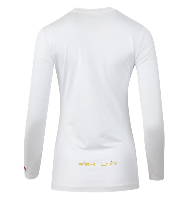 Fish Lair Women Long Sleeve Pearl White T-Shirt
