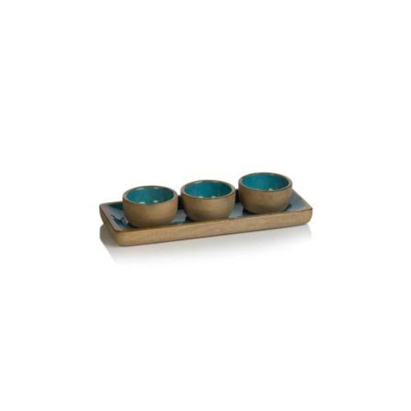 Aqua Blue Mango Wood Condiment Set Serveware Tabula Rasa Essentials