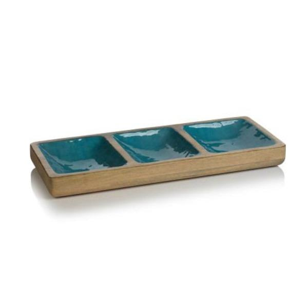 Aqua Blue Mango Wood Sectional Serveware Tabula Rasa Essentials