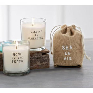 Beach Candle in Burlap Bag Candles Tabula Rasa Essentials Gone To The Beach