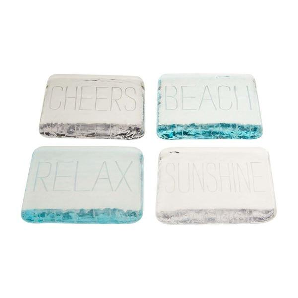 Beach Glass Coaster Set/4 Serveware Mud Pie