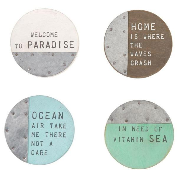 Beach Wood Coaster Set Serveware Tabula Rasa Essentials
