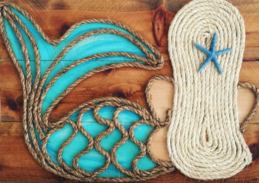 Blonde Turq Leaning Mermaid Rope & Wood Wall Art Tabula Rasa Essentials