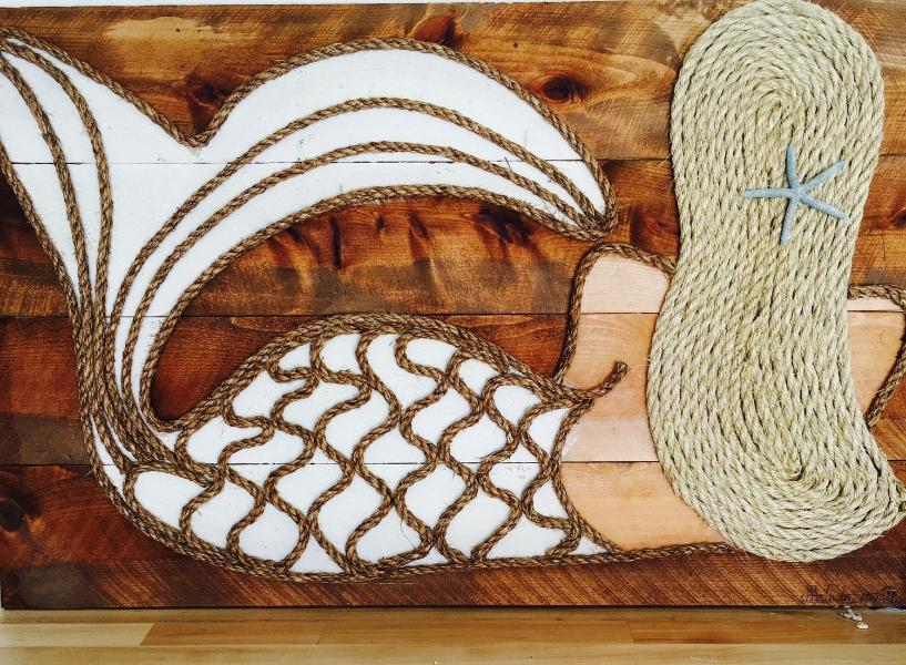 Blonde White Leaning Mermaid Rope & Wood Wall Art Tabula Rasa Essentials