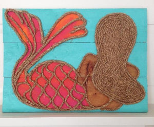 Brunette Turq Leaning Mermaid Rope & Wood Wall Art Tabula Rasa Essentials