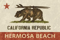 "Cali Bear Surf Barn Wood Signs Wall Art Tabula Rasa Essentials Hermosa Beach 18""x12"""