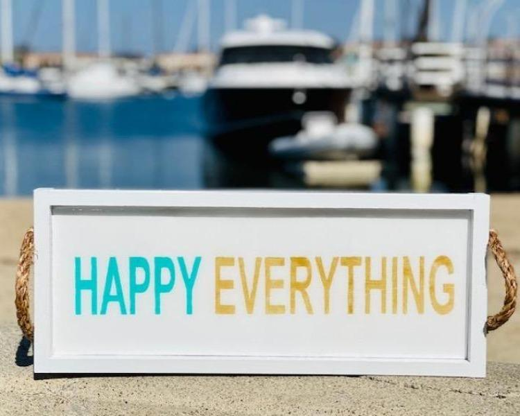 Happy Everything White Long Tray Serving Tray Tabula Rasa Essentials