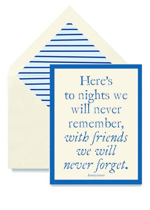 Here's to Nights We Can Remember Greeting Card Greeting Cards Tabula Rasa Essentials