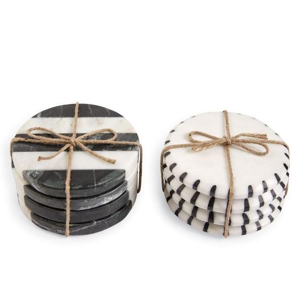 Marble Black White Coaster S/4 Coasters Tabula Rasa Essentials Black White Stripe