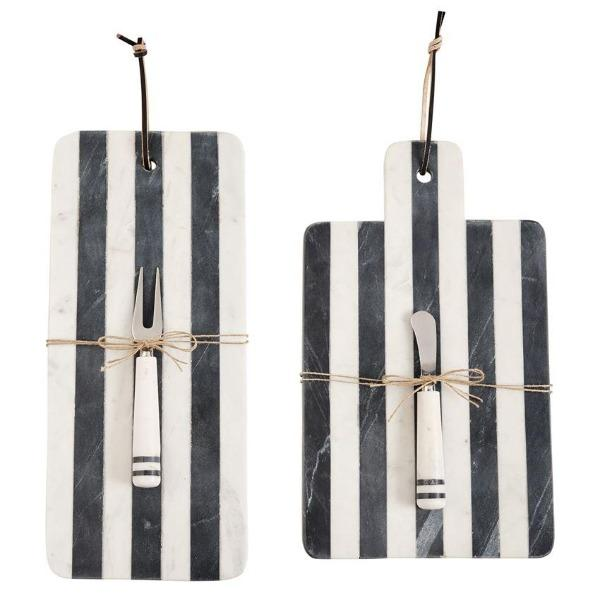 "Marble Black White Stripe Cheeseboard with Knife Cheeseboard Tabula Rasa Essentials 9""x15"""