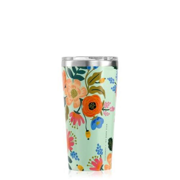 Mint Lively Floral 16oz. Tumbler Canteen CORKCICLE.
