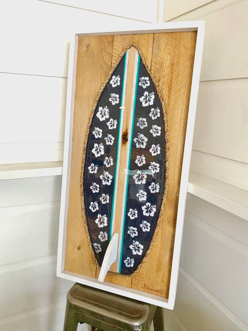 Navy Hibiscus Resin Surfboard Rope & Wood - MADE TO ORDER Wall Art Tabula Rasa Essentials