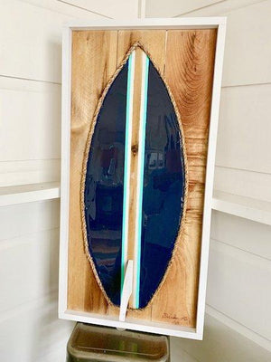 Navy Turq White Stripe Resin Surfboard Rope & Wood - MADE TO ORDER Wall Art Tabula Rasa Essentials