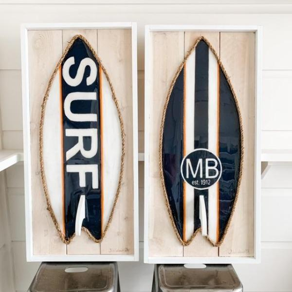 Navy White Orange Resin Surfboard Rope & Wood Wall Art Tabula Rasa Essentials Surf
