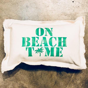 On Beach Time Palm Baby Rectangle Pillow Pillow Tabula Rasa Essentials Grassy Green