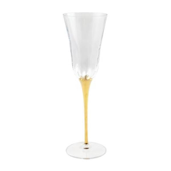 Optical Gold Stem Champagne Glass Glassware Vietri
