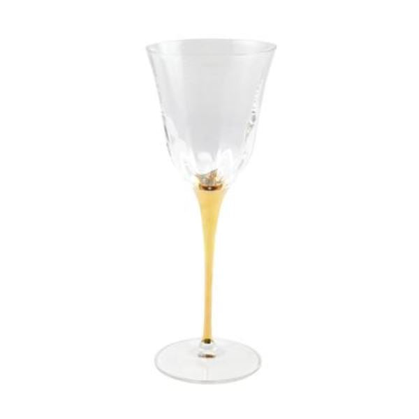 Optical Gold Stem Water Glass Glassware Vietri