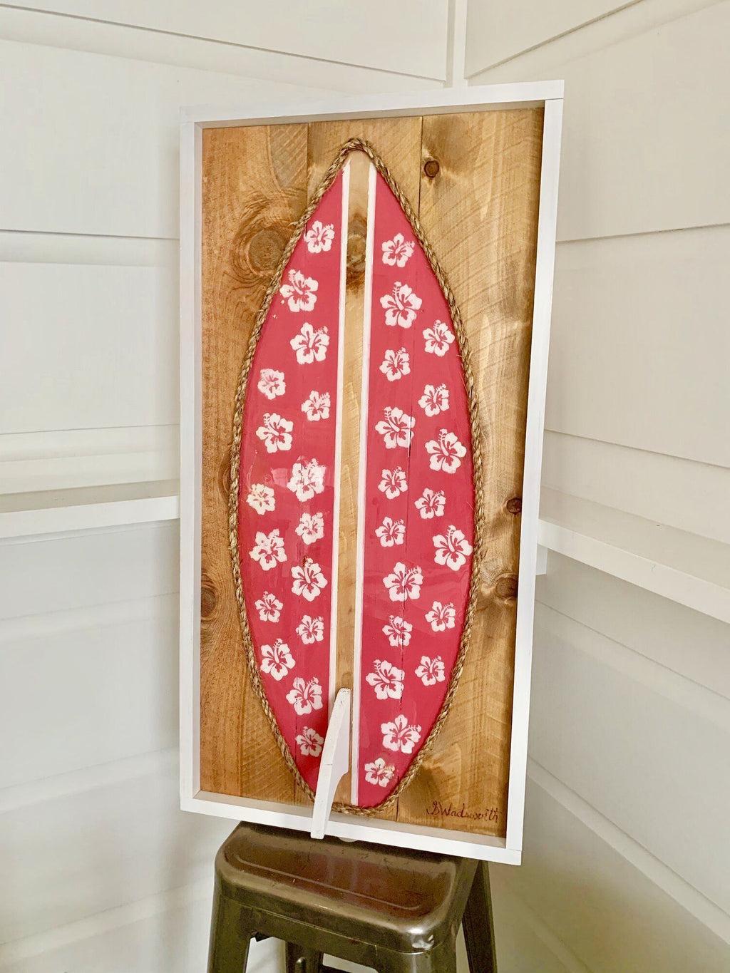 Pink Hibiscus Resin Surfboard Rope & Wood - MADE TO ORDER Wall Art Tabula Rasa Essentials