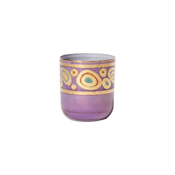Regalia Purple Dbl Old Fashion Glassware Vietri