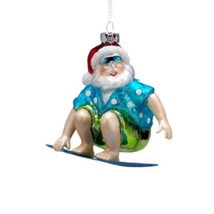 Santa Surfing Glass Ornament Holiday Ornament Tabula Rasa Essentials