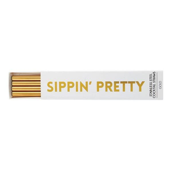 Sippin Pretty Gold Cocktail Straws - TEMPORARILY SOLD OUT Entertaining Tabula Rasa Essentials