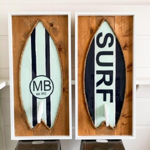 Sky Blue Navy White Resin Surfboard Rope & Wood Wall Art Tabula Rasa Essentials Surf